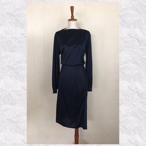 Vintage Long Sleeve Faux Suede Trim Midi Dress